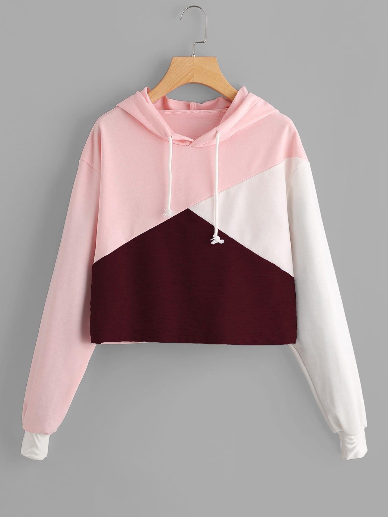 Cut And Sew Panel Crop Hoodie cut and sew hoodie