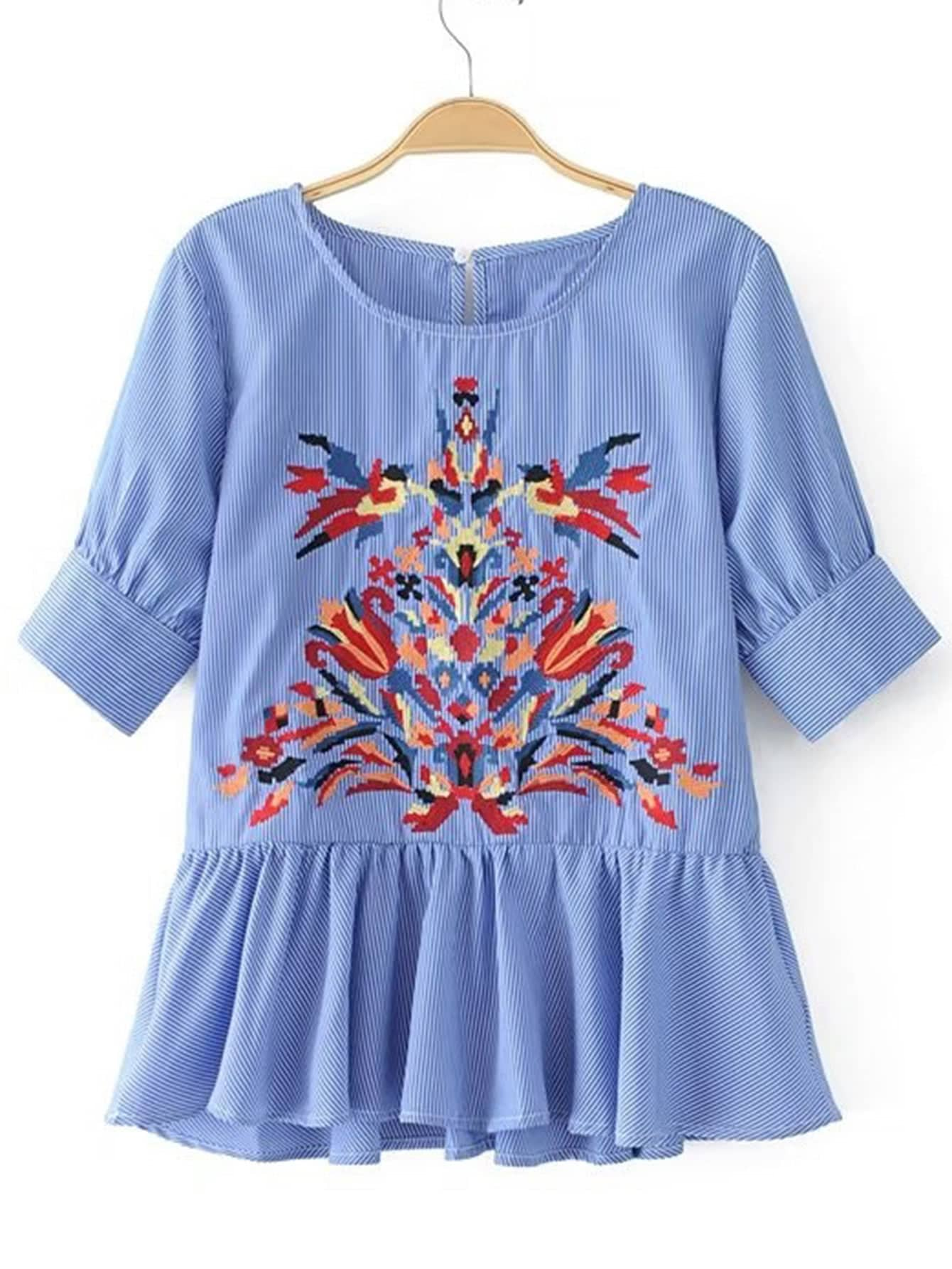 Embroidery Detail Striped Babydoll Blouse