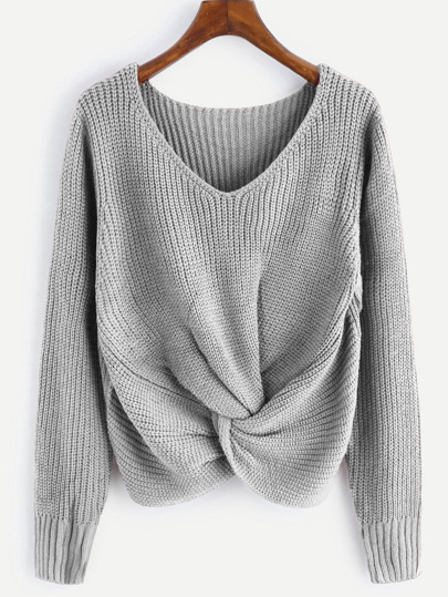 V-neckline Twist Front Sweater