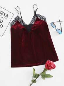 Top camisole in velluto con bordi in pizzo floreale