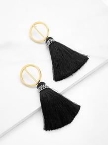 Two Tone Tassel Drop Earrings