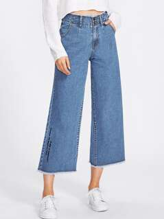 Frayed Waist And Hem Embroidered Culotte Jeans