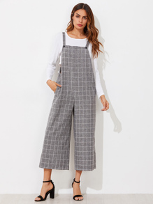 Grid Pinafore Culotte Jumpsuit