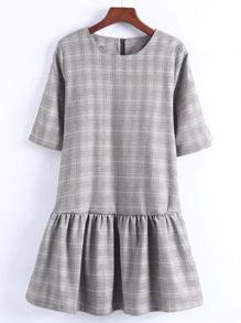 Zipper Back Drop Waist Plaid Dress