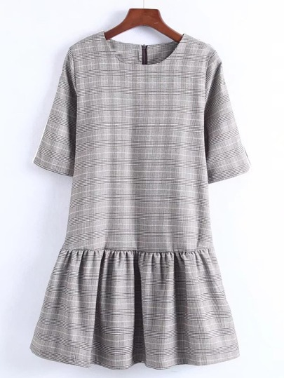 Zipper Back Drop Waist Plaid Dress