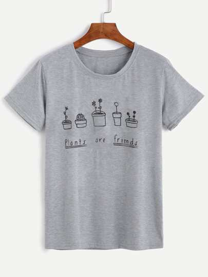 Plants And Letters Print T-shirt