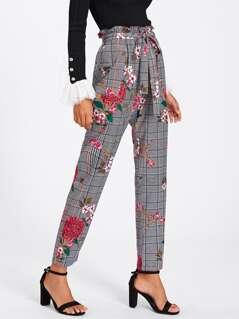 Mixed Printed Frill Waist Pants