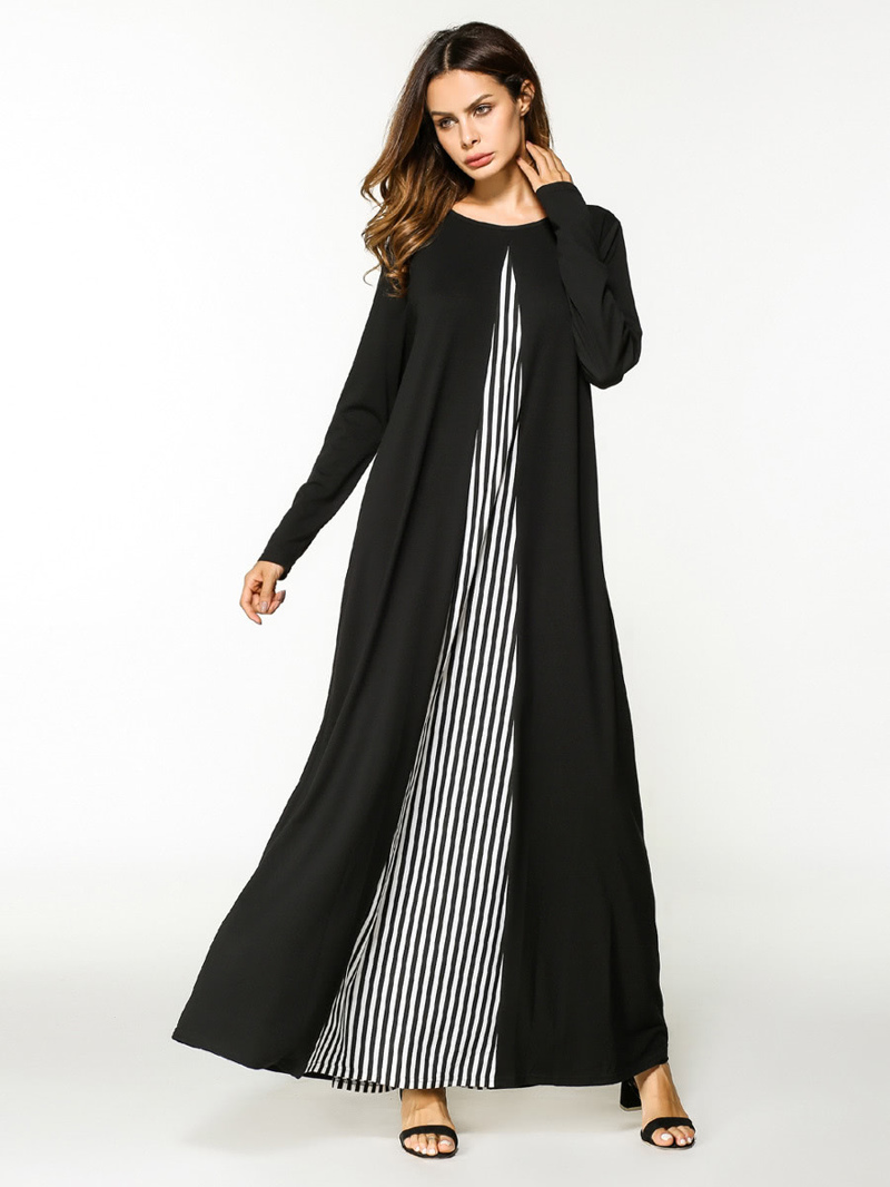Stripe Contrast Full Length Dress, Black and white