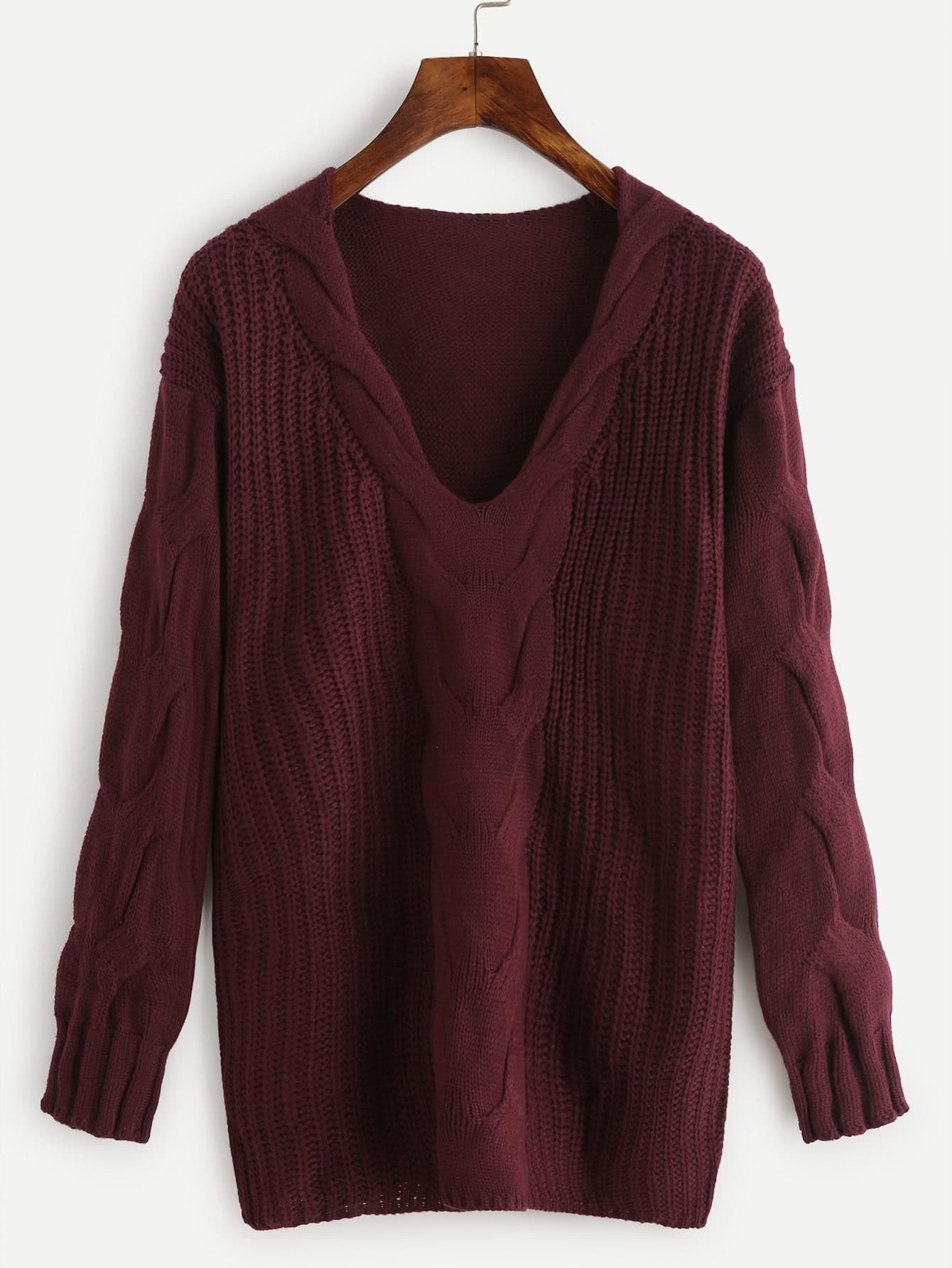 Plunge Drop Shoulder Cable Knit Sweater colorblock cable knit sweater