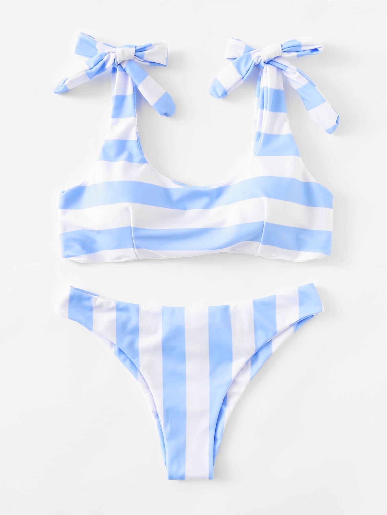 Striped Ruched Detail Bikini Set ruched detail halter bikini set