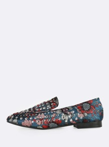 Floral Print Studded Loafers BLUE