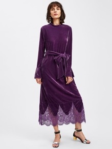 Lace Hem Self Tie Velvet Dress