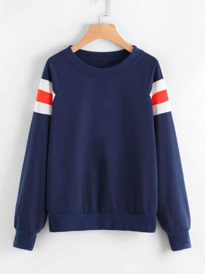 Contrast Stripe Panel Raglan Sweatshirt