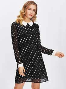 Contrast Collar And Cuff Polka Dot Dress