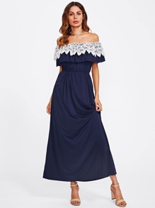 Lace Crochet Flounce Layered Neckline Dress