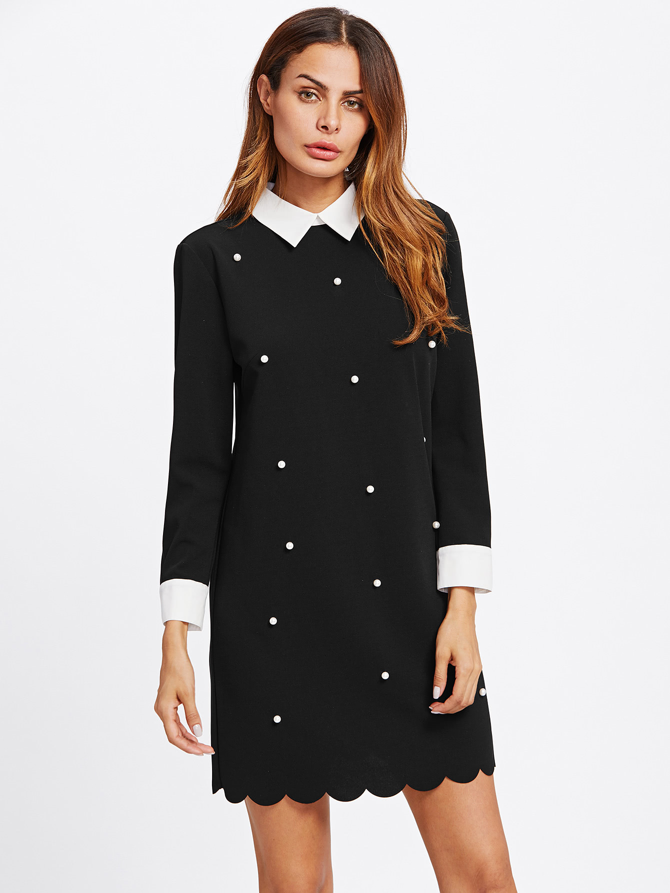 Pearl Beading Contrast Trim Scalloped Dress contrast collar & cuff pearl beading dress