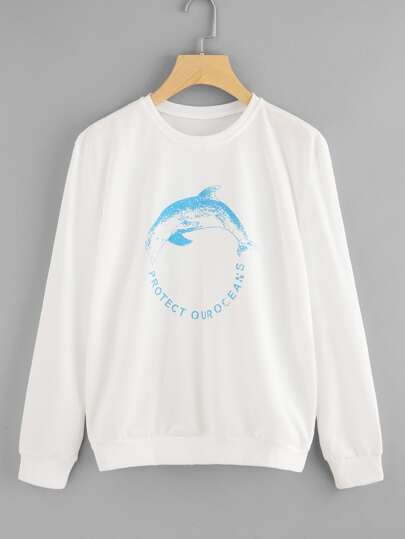 Graphic Print Round Neck Sweatshirt