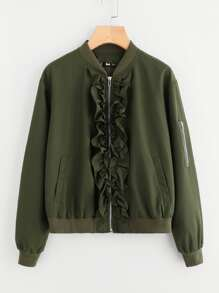 Frill Front Arm Pocket Detail Bomber Jacket