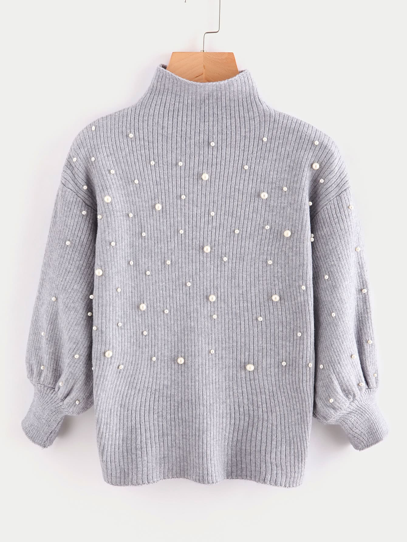 купить Pearl Beading Mock Neck Balloon Sleeve Jumper недорого