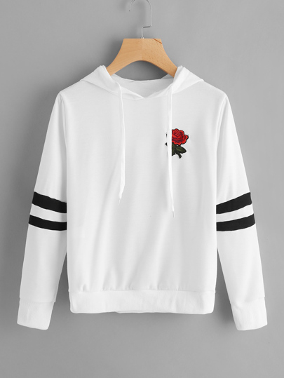 Rose Patch Varsity-Striped Hoodie