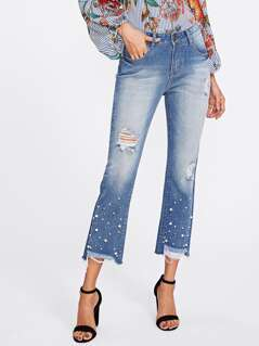 Pearl And Rhinestone Detail Distressed Jeans