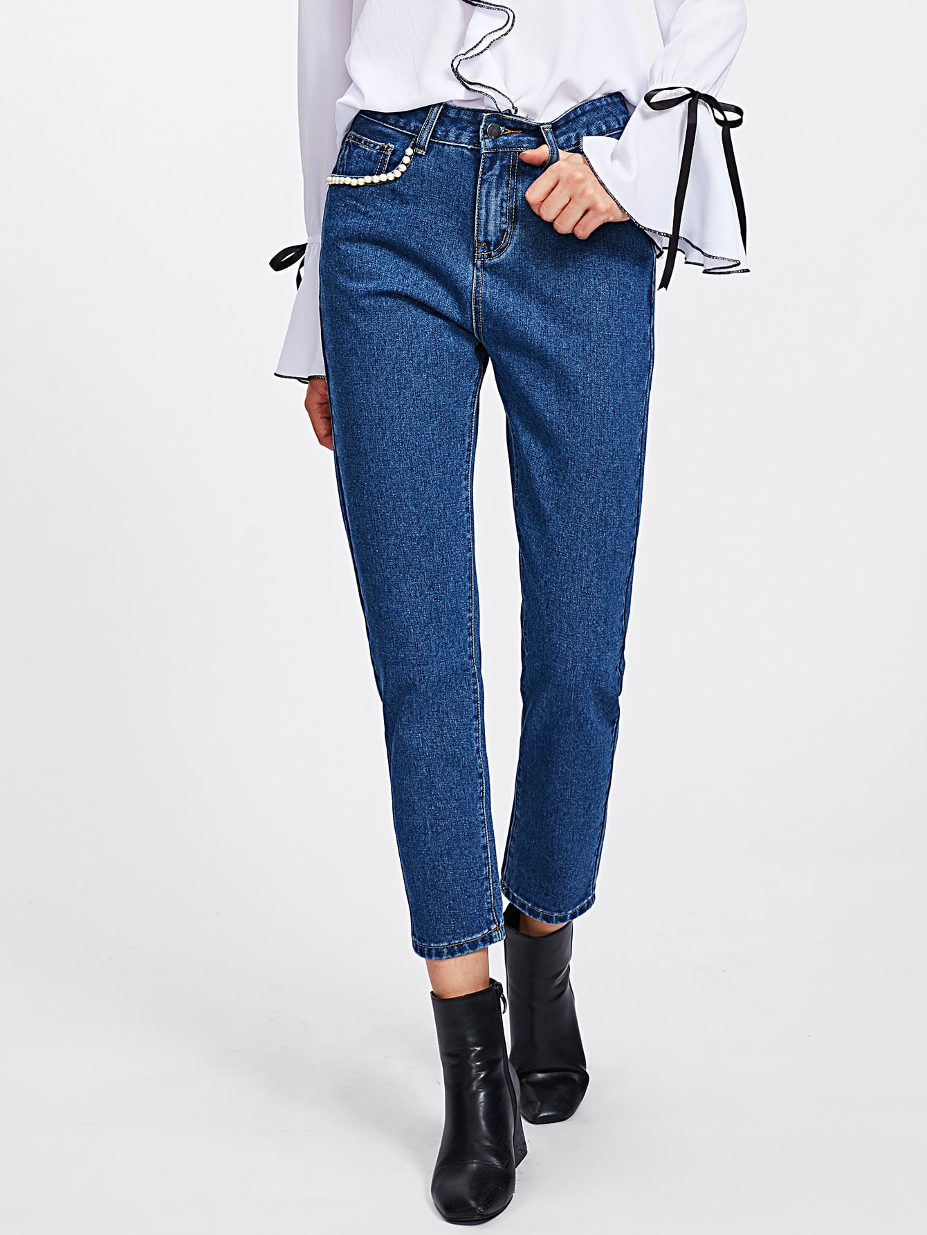 Pearl Beading Pocket Peg Jeans