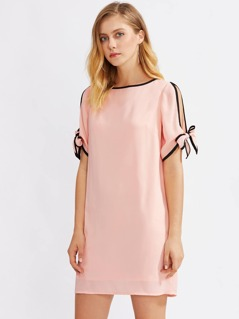 Contrast Binding Split Tie Sleeve Dress