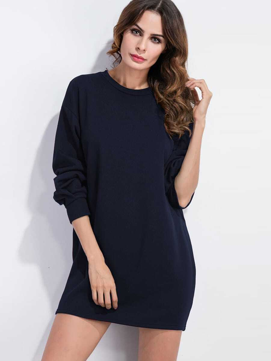 Drop Shoulder Sweatshirt Dress drop shoulder grommet tie detail sweatshirt