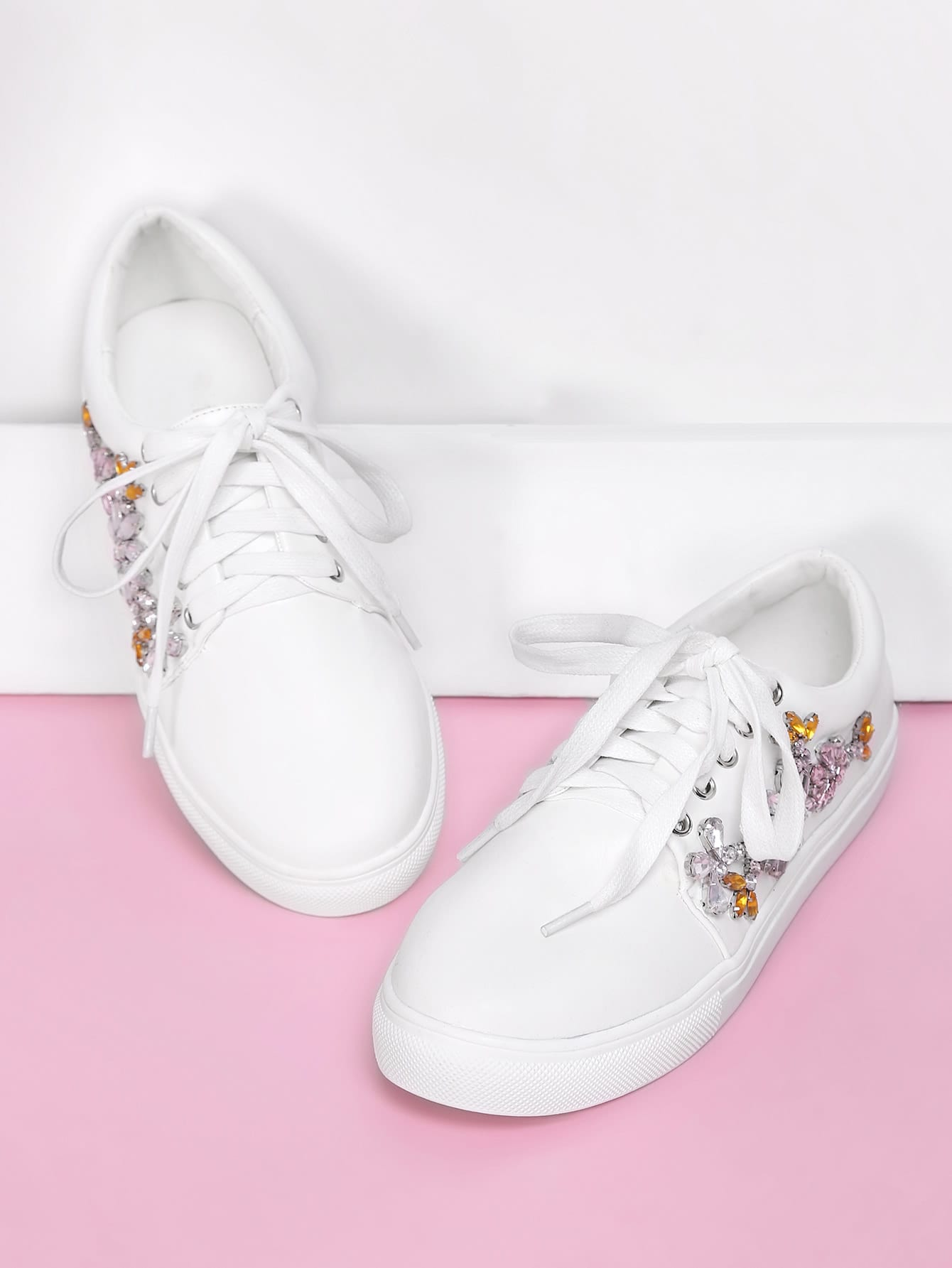 Rhinestone Flower Decorated Lace Up Sneakers st decorated up