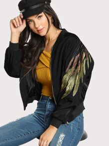 Feather Embroidered Zip Up Bomber Jacket