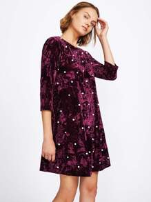 Pearl Beading Crushed Velvet Dress