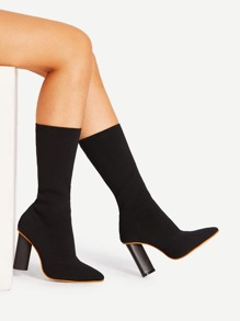 Pointed Toe Block Heeled Knit Boots