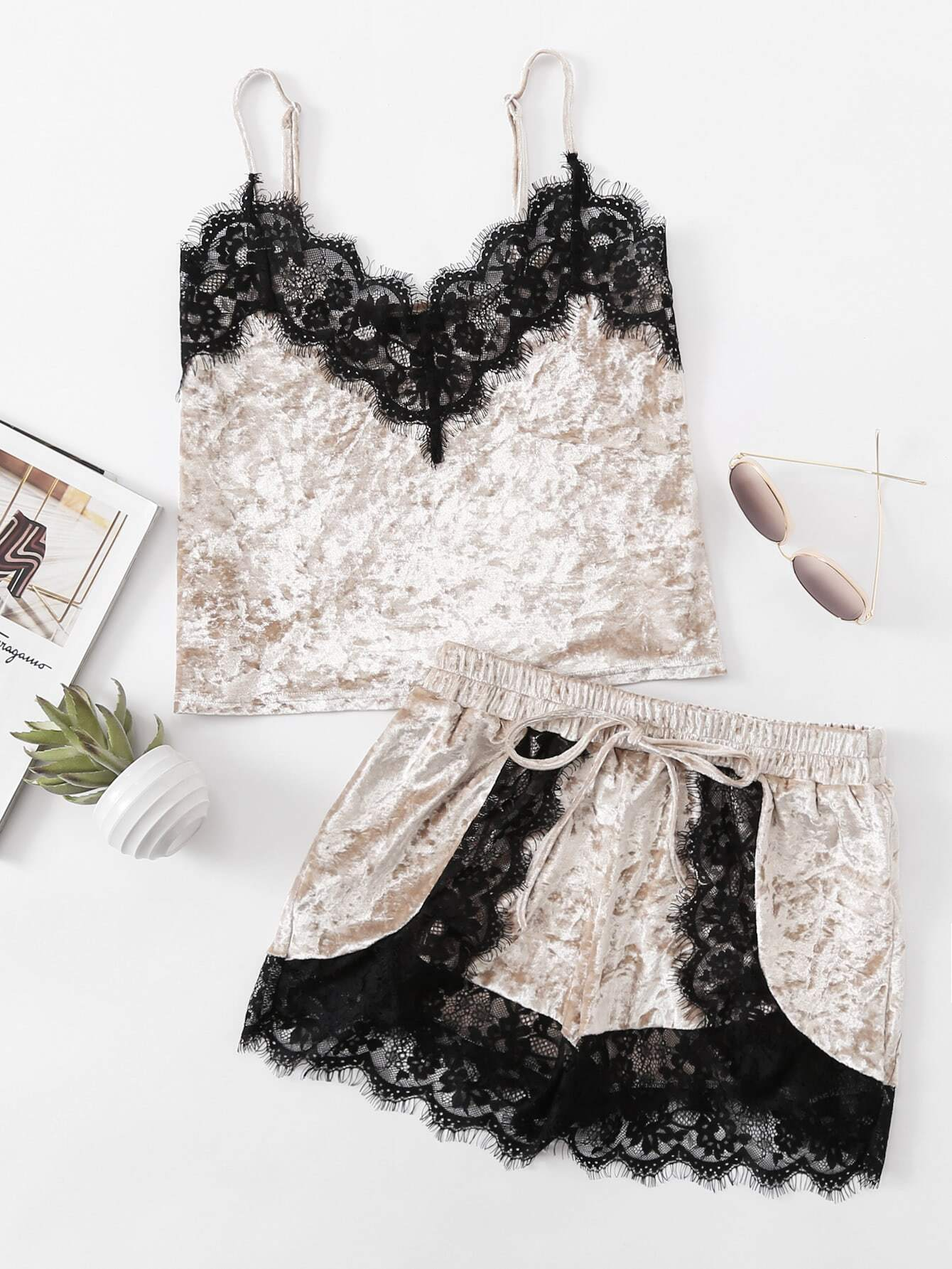 Eyelash Lace Trim Velvet Cami & Shorts Pajama Set contrast lace cami with shorts pajama set