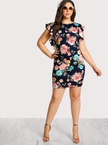 Floral Print Ruffle Sleeve Dress NAVY