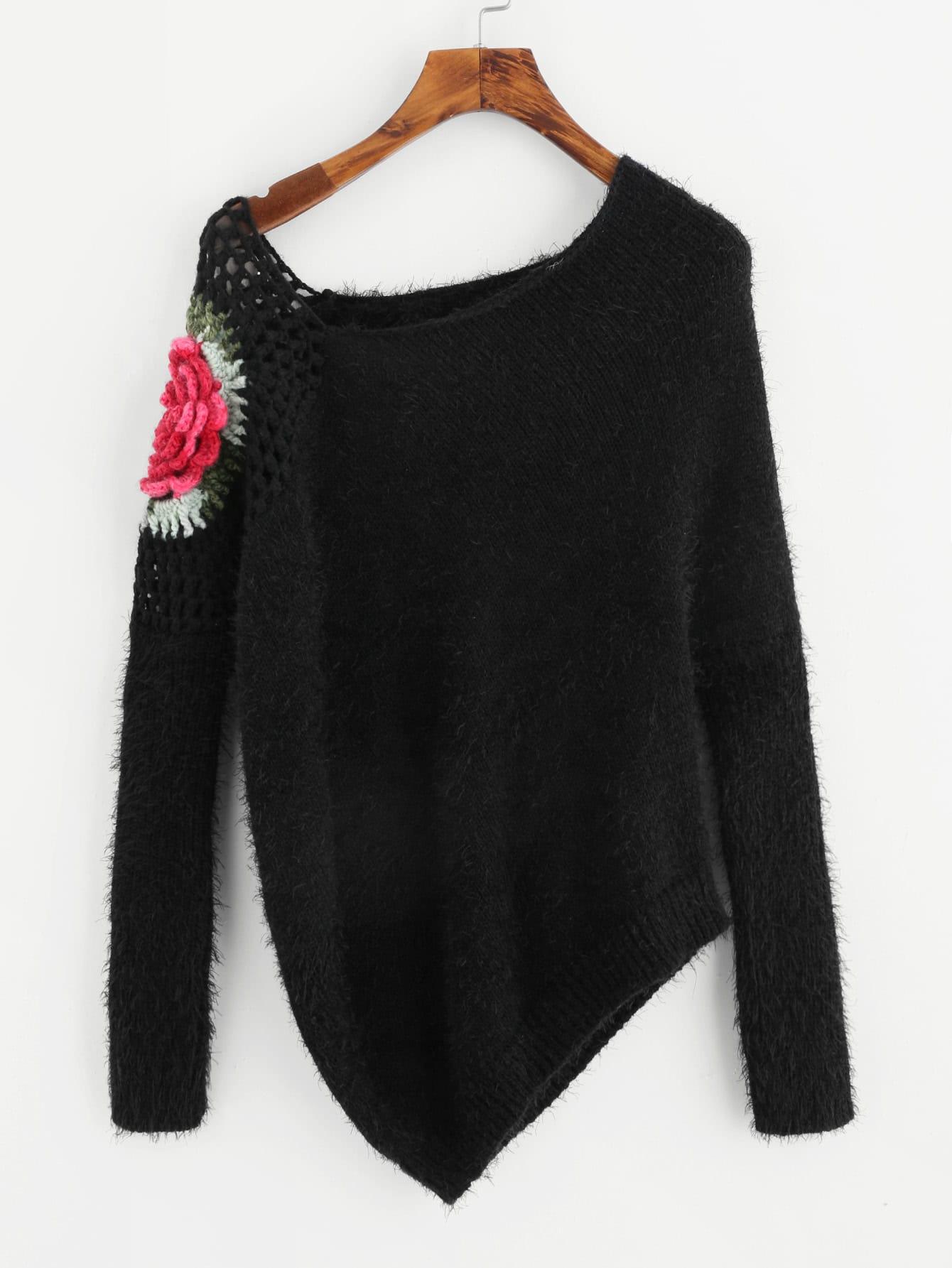 Модный асимметричный джемпер на одно плечо с цветочным узором, null, SheIn  - купить со скидкой