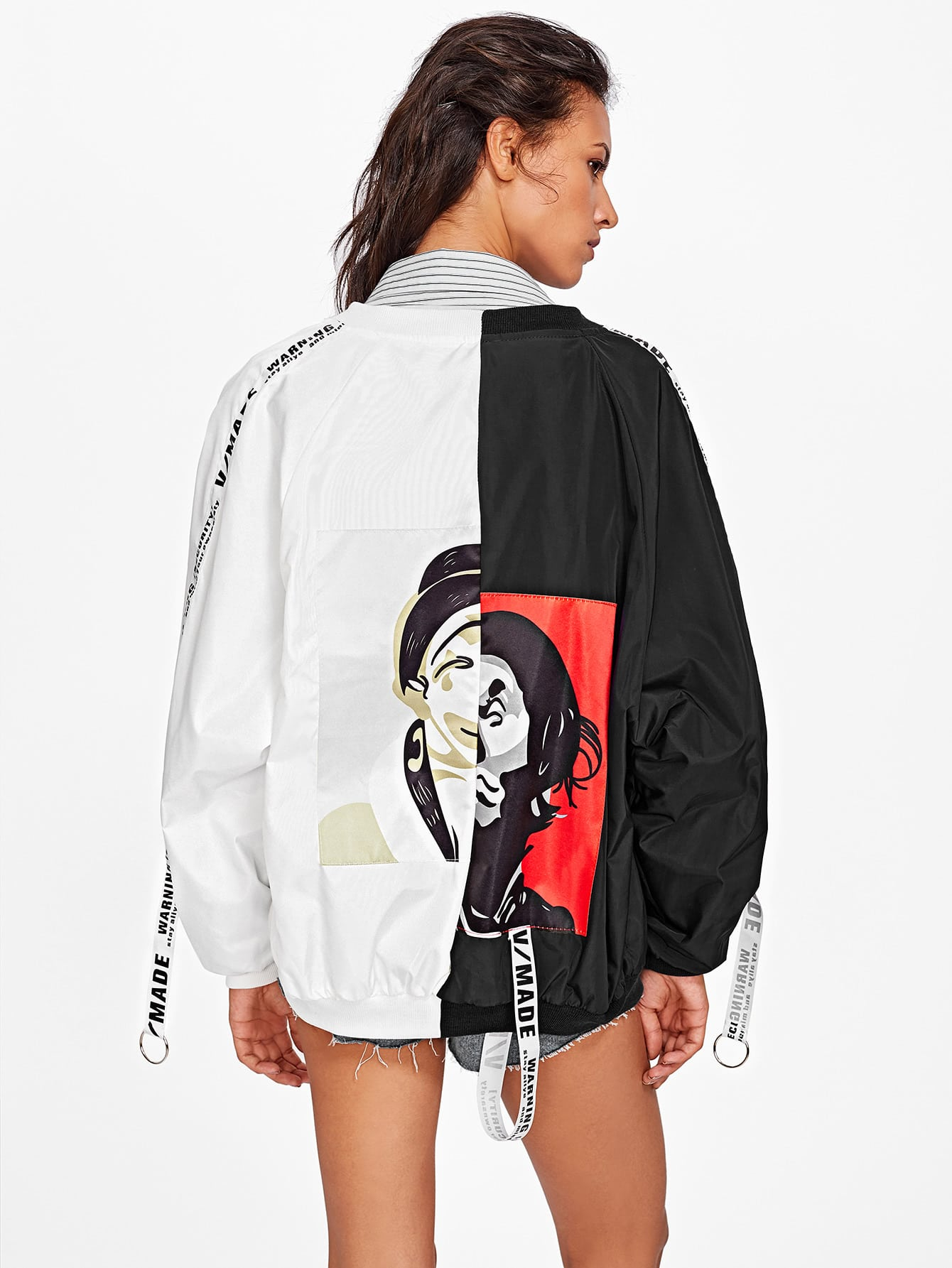 Two Tone Patch Back Ribbon Detail Bomber Jacket two tone letter tape detail hooded jacket