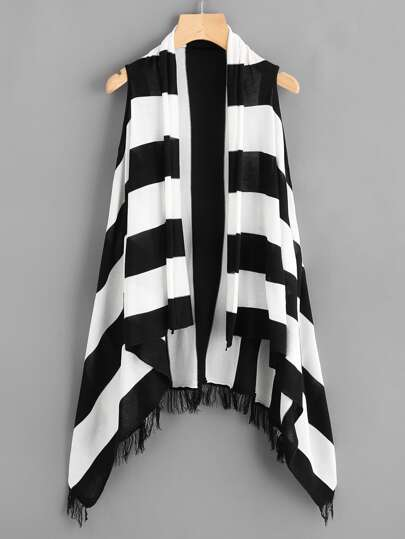 Striped Fringe Asymmetrical Hem Sleeveless Coat