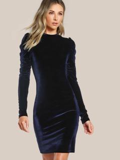 Puff Sleeve Velvet Pencil Dress