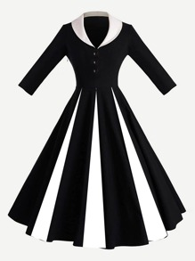 Contrast Panel Shawl Collar Fit & Flare Dress