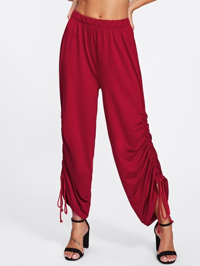 Shirred Side Wide Pants