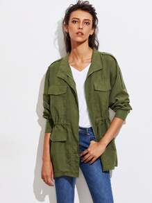 Drawsting Waist Flap Pocket Utility Jacket