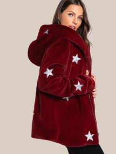 Star Print Faux Fur Hoodie Coat