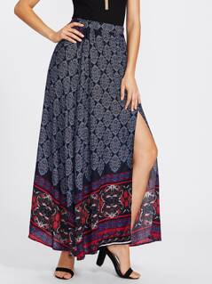 Ornate Print Slit Skirt