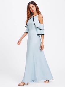 Flounce Open Shoulder Bell Sleeve Contrast Binding Dress