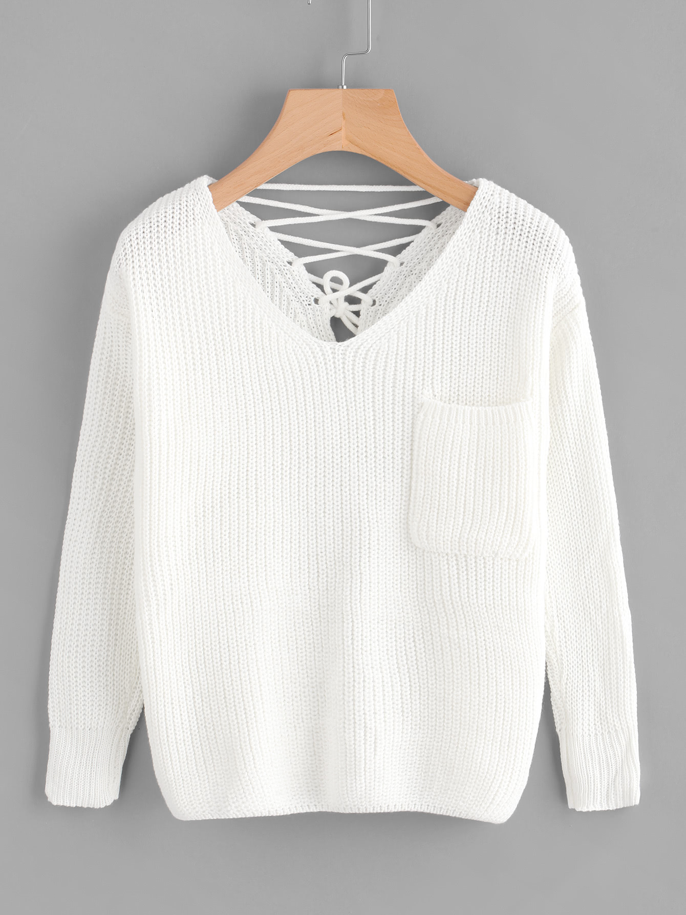 Double V Lace Up Back Chunky Knit Jumper sweater170920001