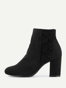 Side Zipper Block Heeled Boots