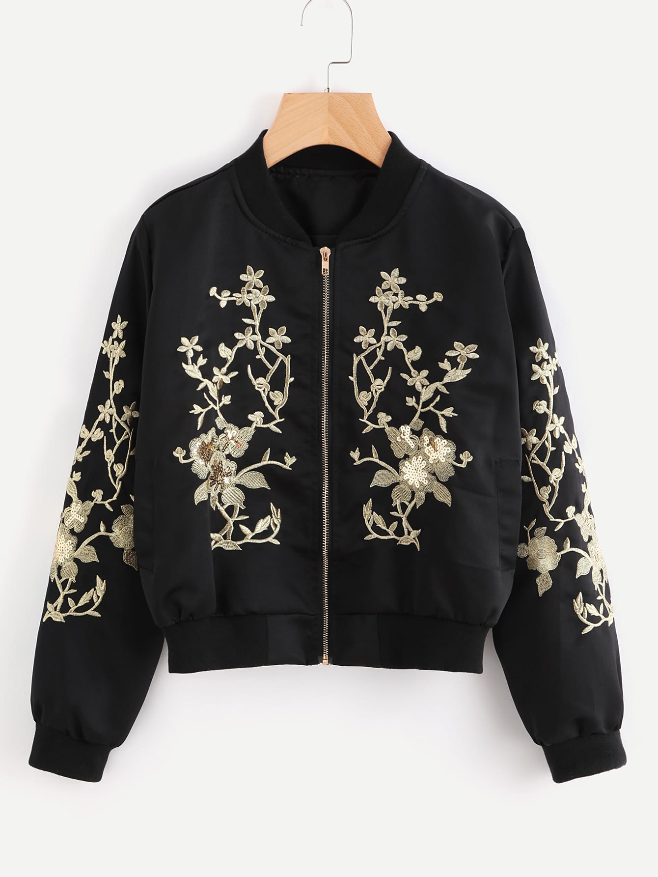 Flower Embroidered Sequin Detail Ribbed Trim Jacket embroidered tape detail beading trim bardot top