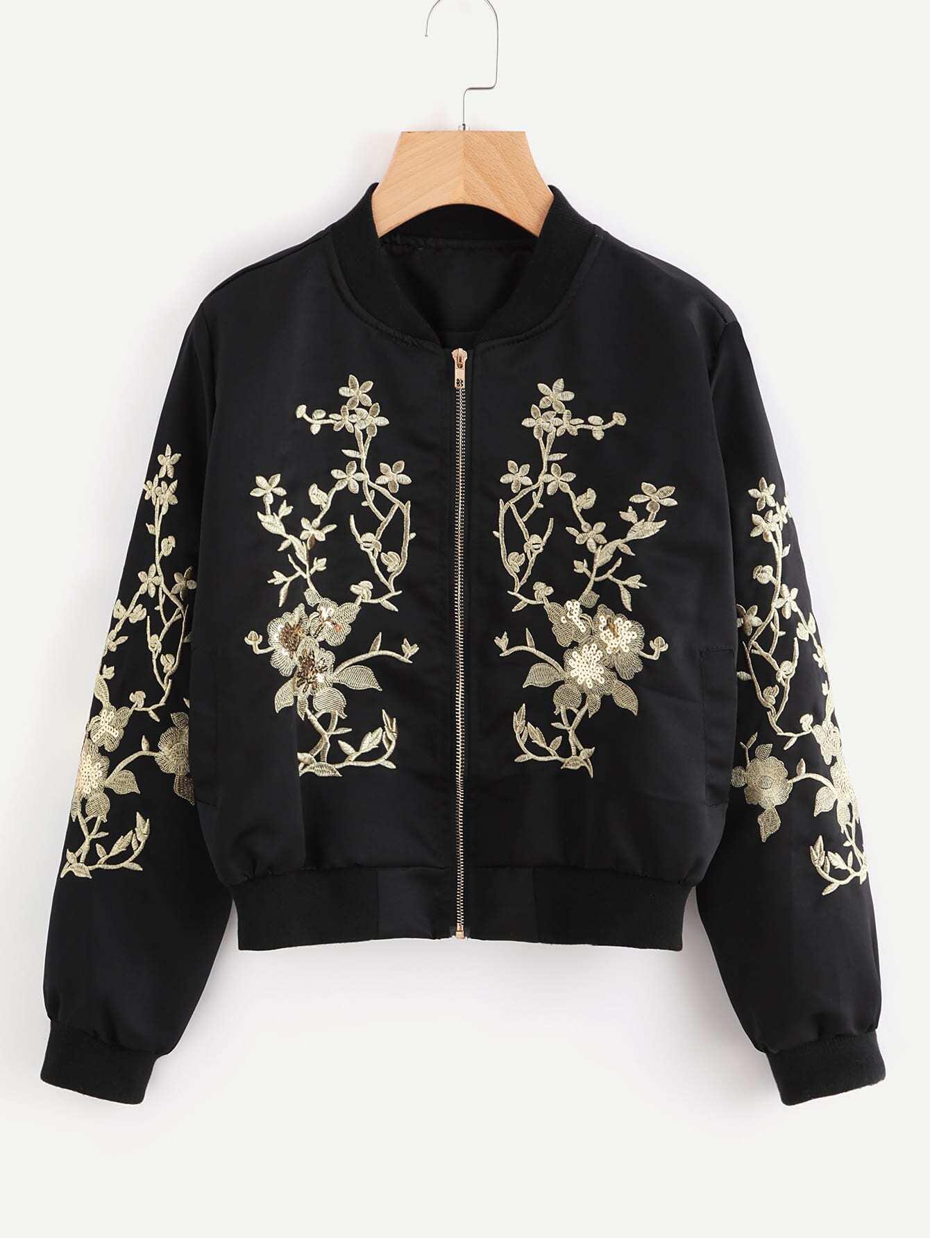Flower Embroidered Sequin Detail Ribbed Trim Jacket jacket170925101