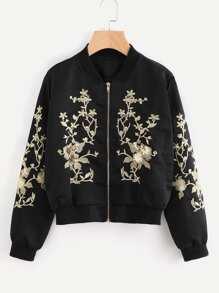 Flower Embroidered Sequin Detail Ribbed Trim Jacket