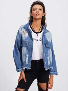 Slogan Back Raw Hem Bleach Wash Denim Jacket